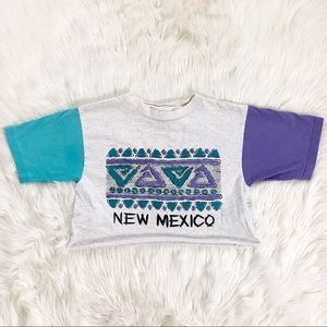 Tops - New Mexico 1991 Cropped Vintage 90s T-Shirt